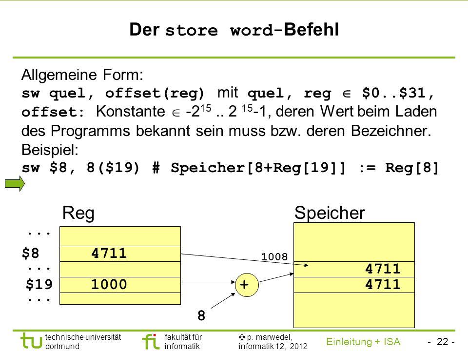 - 21 - technische universität dortmund fakultät für informatik p. marwedel, informatik 12, 2012 Einleitung + ISA TU Dortmund Der load word- Befehl All