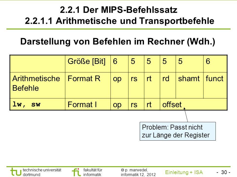 - 29 - technische universität dortmund fakultät für informatik p. marwedel, informatik 12, 2012 Einleitung + ISA TU Dortmund Eigenschaften des Von-Neu