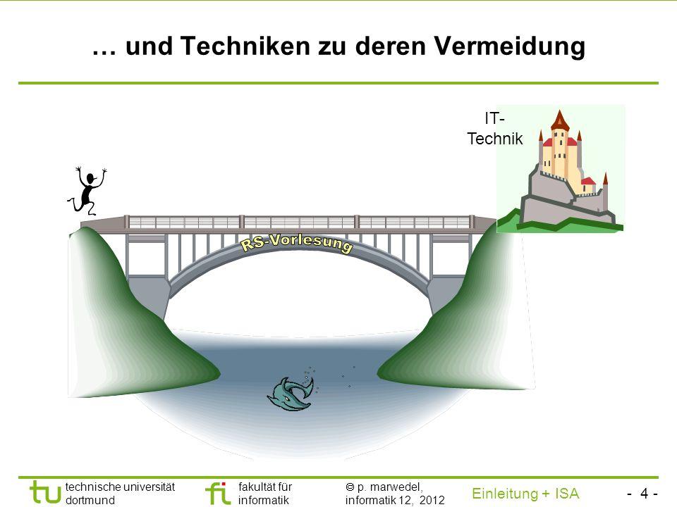 - 3 - technische universität dortmund fakultät für informatik p. marwedel, informatik 12, 2012 Einleitung + ISA TU Dortmund Problematische Situationen