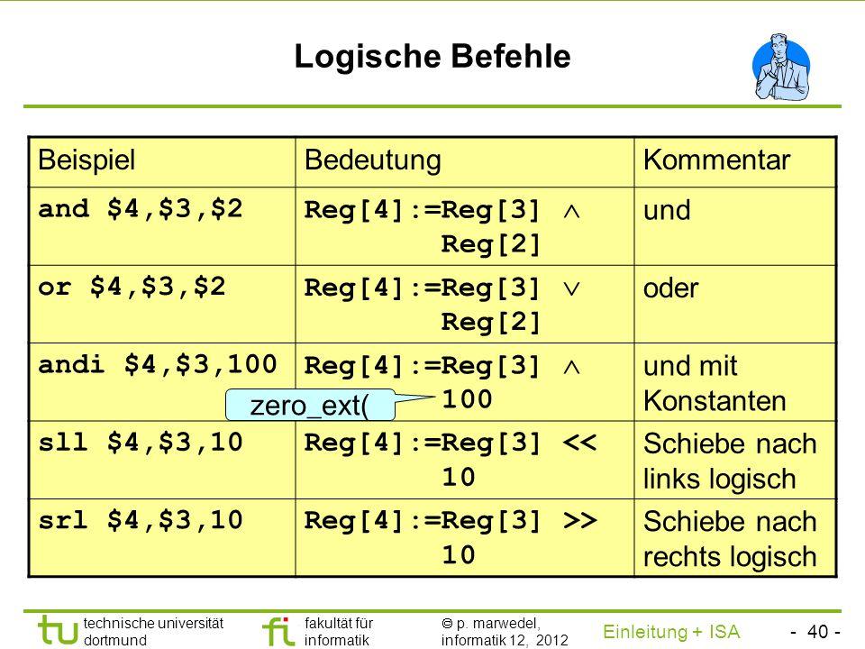 - 39 - technische universität dortmund fakultät für informatik p. marwedel, informatik 12, 2012 Einleitung + ISA TU Dortmund Divisionsbefehle Problem: