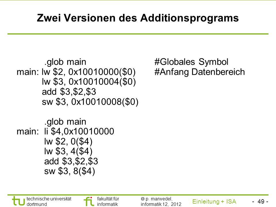 - 48 - technische universität dortmund fakultät für informatik p. marwedel, informatik 12, 2012 Einleitung + ISA TU Dortmund Benutzung der Speicherber