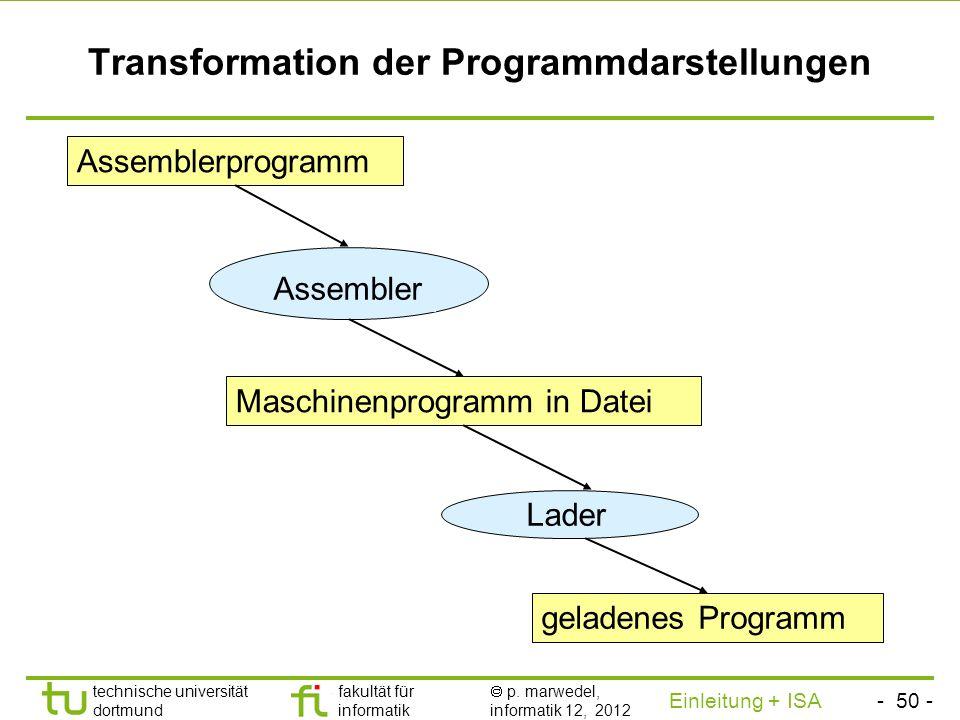 - 49 - technische universität dortmund fakultät für informatik p. marwedel, informatik 12, 2012 Einleitung + ISA TU Dortmund Zwei Versionen des Additi