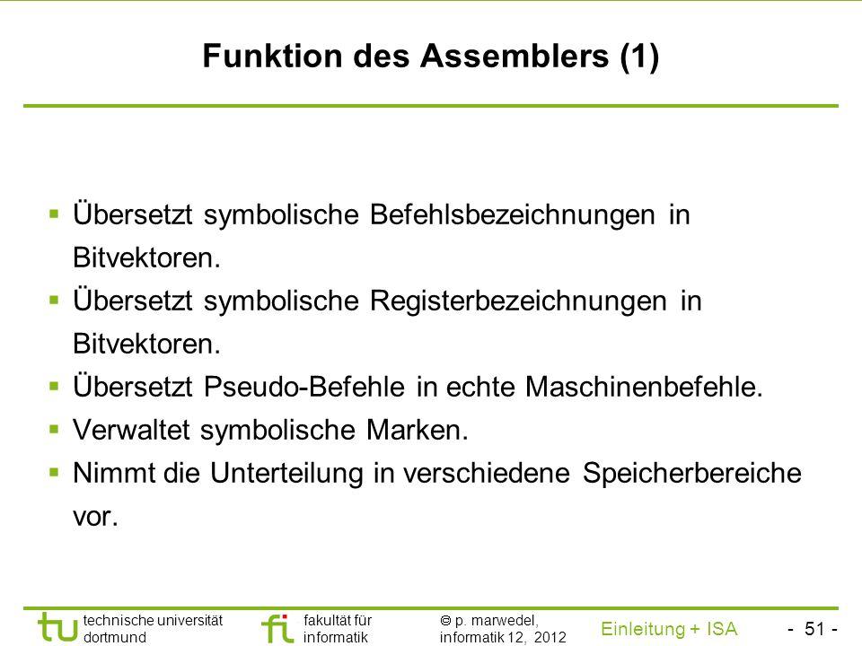 - 50 - technische universität dortmund fakultät für informatik p. marwedel, informatik 12, 2012 Einleitung + ISA TU Dortmund Transformation der Progra