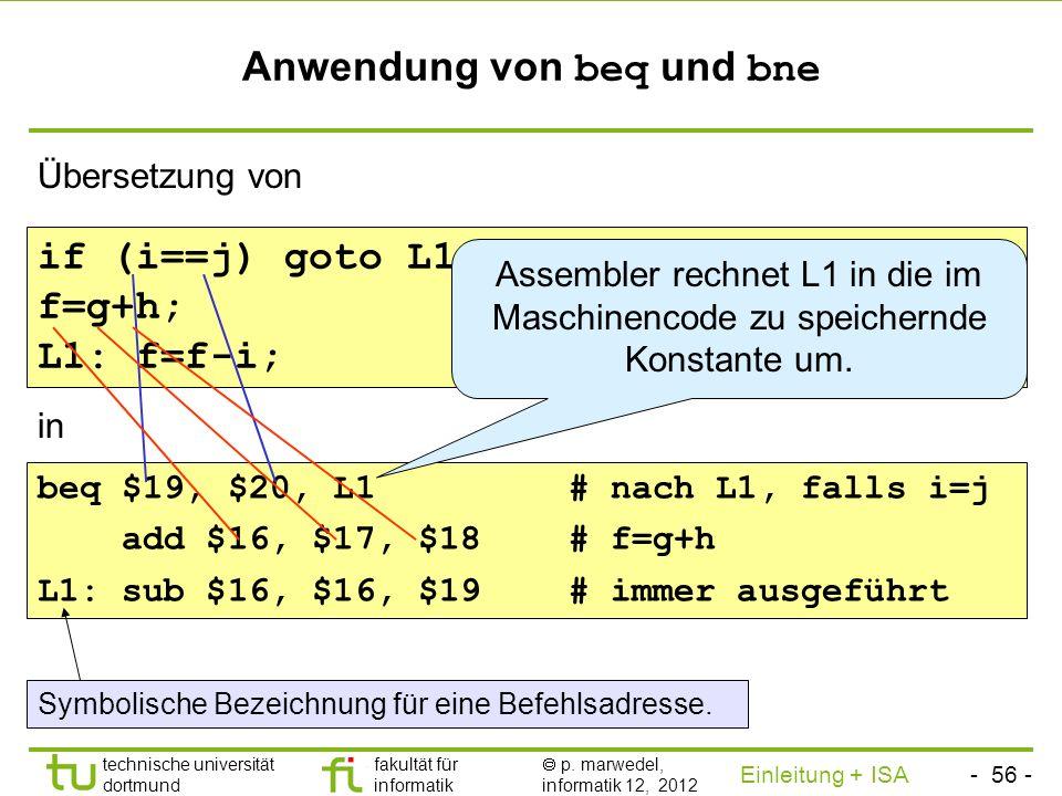 - 55 - technische universität dortmund fakultät für informatik p. marwedel, informatik 12, 2012 Einleitung + ISA TU Dortmund 2.2.1.5 Sprungbefehle Pro