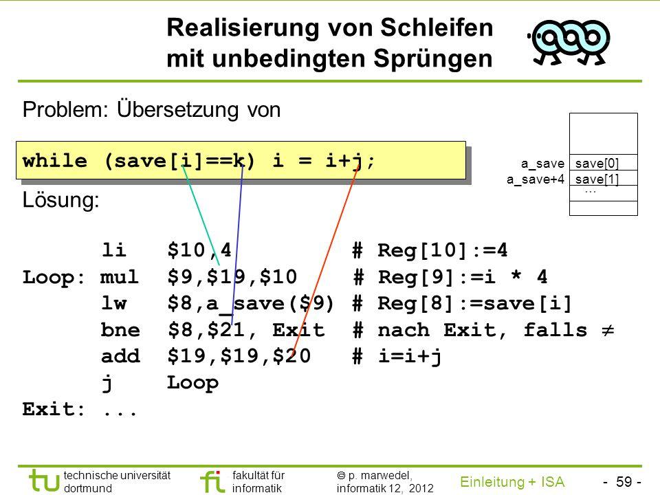 - 58 - technische universität dortmund fakultät für informatik p. marwedel, informatik 12, 2012 Einleitung + ISA TU Dortmund Realisierung von Array-Zu