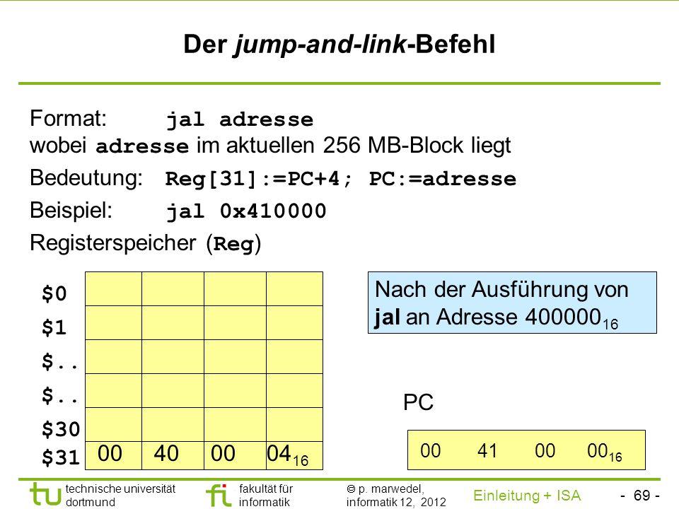 - 68 - technische universität dortmund fakultät für informatik p. marwedel, informatik 12, 2012 Einleitung + ISA TU Dortmund 2.2.1.6 Prozeduraufrufe v