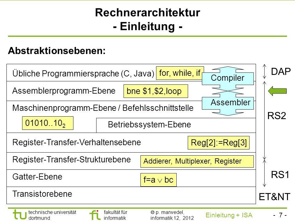 - 6 - technische universität dortmund fakultät für informatik p. marwedel, informatik 12, 2012 Einleitung + ISA TU Dortmund Stil des zweiten Teils der