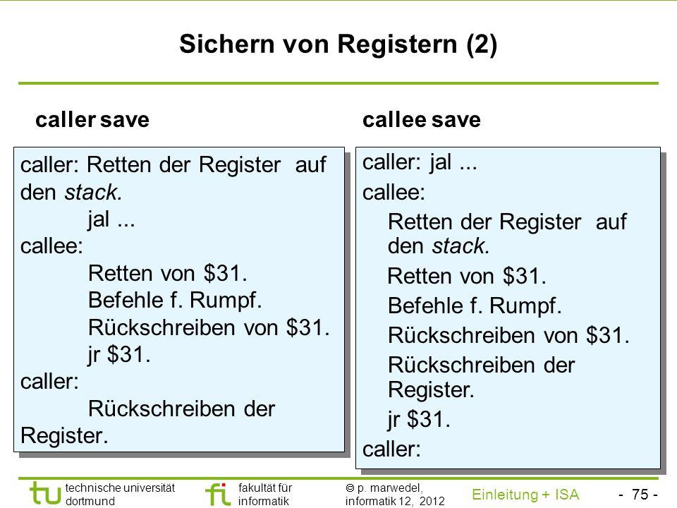 - 74 - technische universität dortmund fakultät für informatik p. marwedel, informatik 12, 2012 Einleitung + ISA TU Dortmund Sichern von Registerinhal
