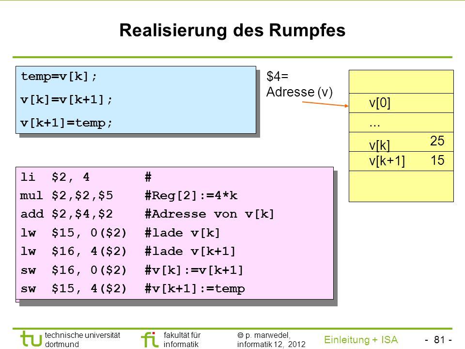 - 80 - technische universität dortmund fakultät für informatik p. marwedel, informatik 12, 2012 Einleitung + ISA TU Dortmund Zuordnung von Registern V
