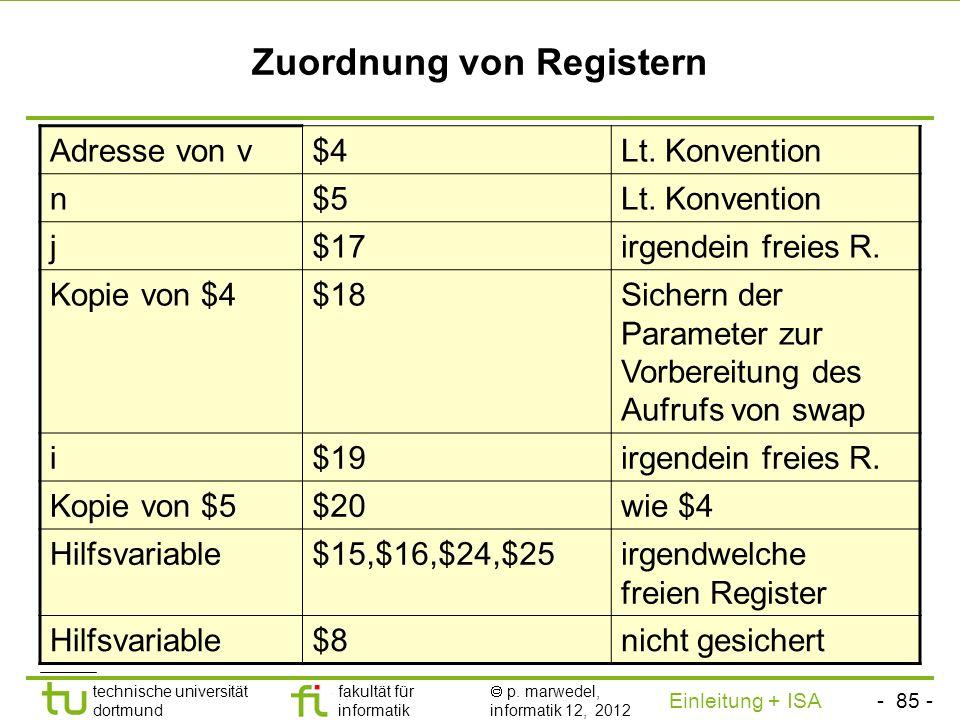- 84 - technische universität dortmund fakultät für informatik p. marwedel, informatik 12, 2012 Einleitung + ISA TU Dortmund Übersetzung von bubble so