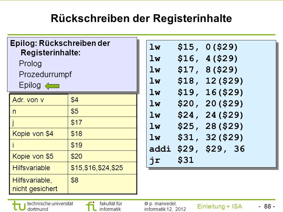 - 87 - technische universität dortmund fakultät für informatik p. marwedel, informatik 12, 2012 Einleitung + ISA TU Dortmund Sichern der Registerinhal