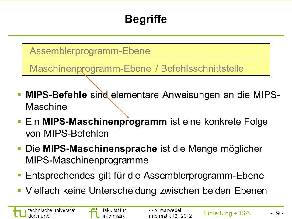 - 8 - technische universität dortmund fakultät für informatik p. marwedel, informatik 12, 2012 Einleitung + ISA TU Dortmund 2.2 Die Befehlsschnittstel