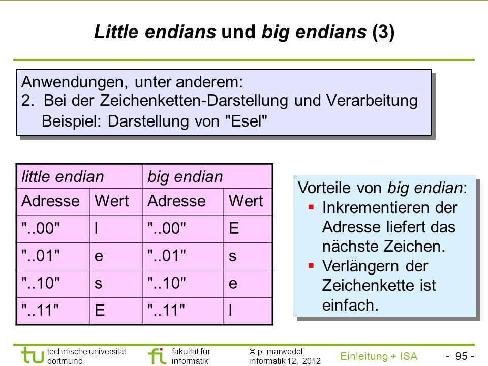 - 94 - technische universität dortmund fakultät für informatik p. marwedel, informatik 12, 2012 Einleitung + ISA TU Dortmund Little endians und big en