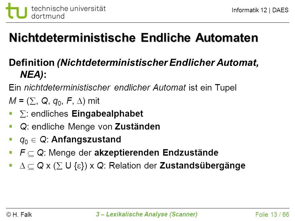 © H. Falk Informatik 12 | DAES 3 – Lexikalische Analyse (Scanner) Folie 13 / 66 Nichtdeterministische Endliche Automaten Definition (Nichtdeterministi