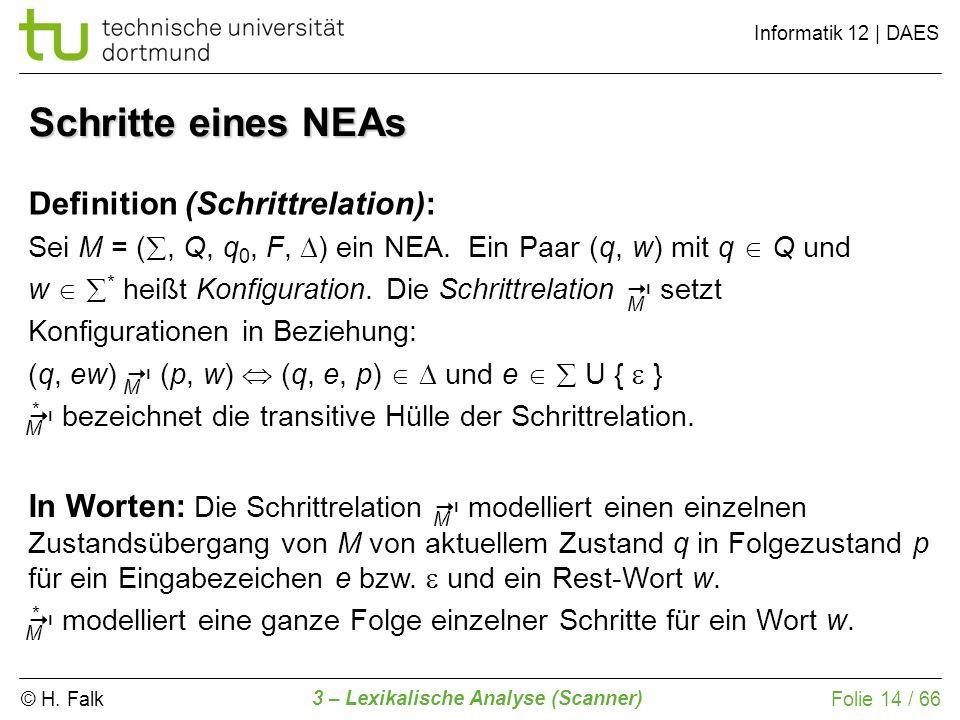 © H. Falk Informatik 12 | DAES 3 – Lexikalische Analyse (Scanner) Folie 14 / 66 Schritte eines NEAs Definition (Schrittrelation): Sei M = (, Q, q 0, F