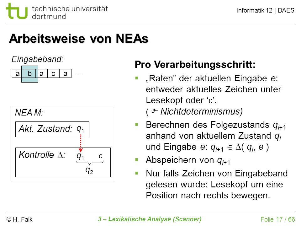 © H. Falk Informatik 12 | DAES 3 – Lexikalische Analyse (Scanner) Folie 17 / 66 Arbeitsweise von NEAs abaca Eingabeband: NEA M: Kontrolle : Pro Verarb