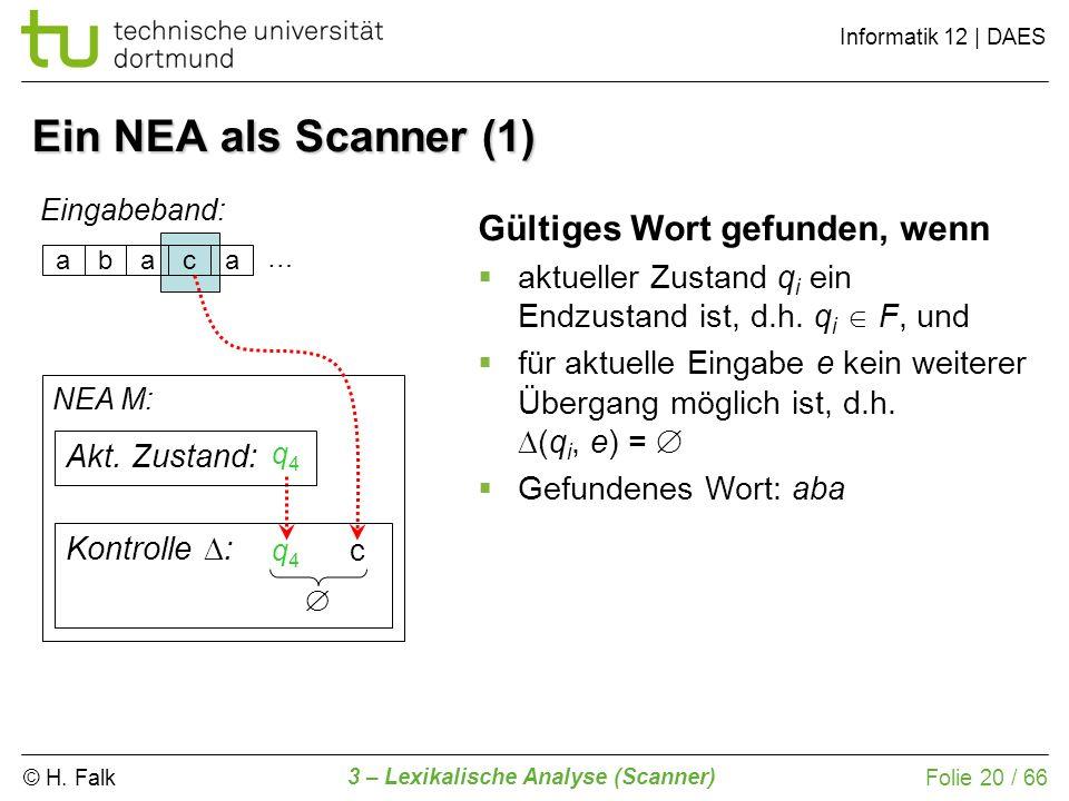 © H. Falk Informatik 12 | DAES 3 – Lexikalische Analyse (Scanner) Folie 20 / 66 Ein NEA als Scanner (1) abaca Eingabeband: NEA M: Kontrolle : Gültiges