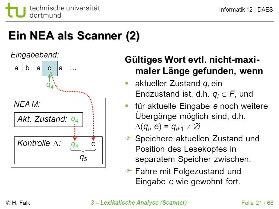 © H. Falk Informatik 12 | DAES 3 – Lexikalische Analyse (Scanner) Folie 21 / 66 Ein NEA als Scanner (2) abaca Eingabeband: NEA M: Kontrolle : Gültiges