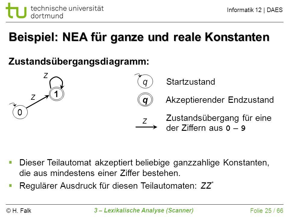 © H. Falk Informatik 12 | DAES 3 – Lexikalische Analyse (Scanner) Folie 25 / 66 Beispiel: NEA für ganze und reale Konstanten Zustandsübergangsdiagramm