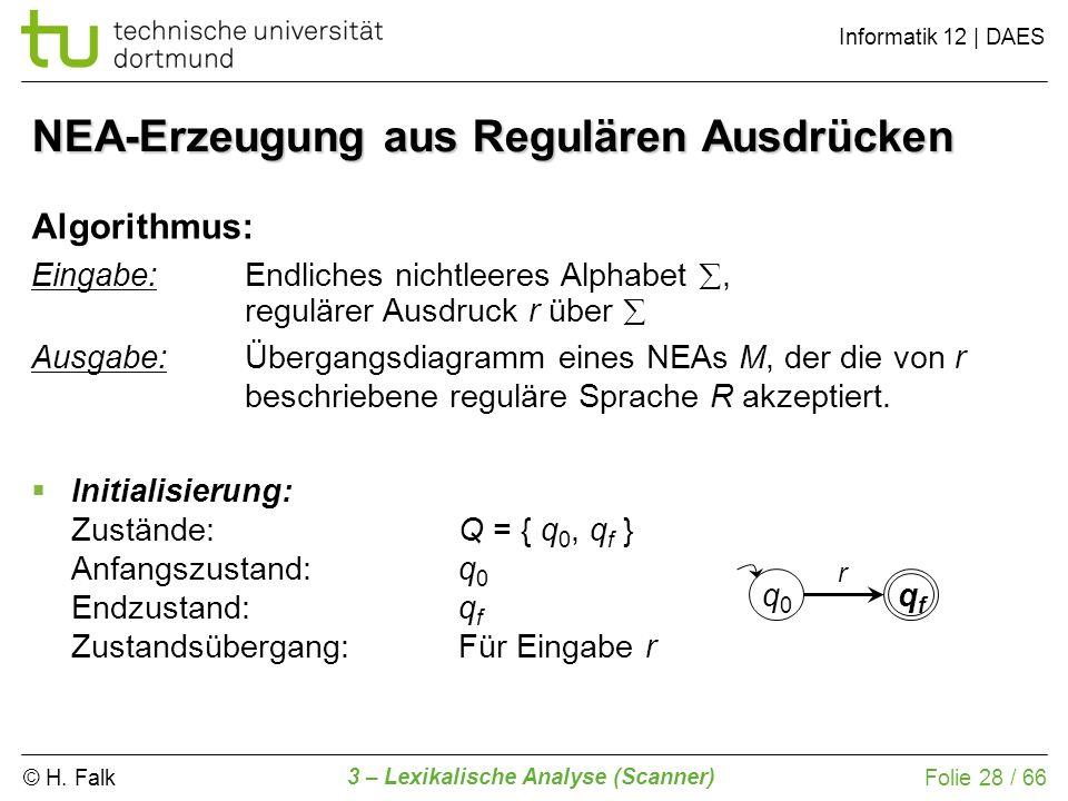 © H. Falk Informatik 12 | DAES 3 – Lexikalische Analyse (Scanner) Folie 28 / 66 NEA-Erzeugung aus Regulären Ausdrücken Algorithmus: Eingabe: Endliches