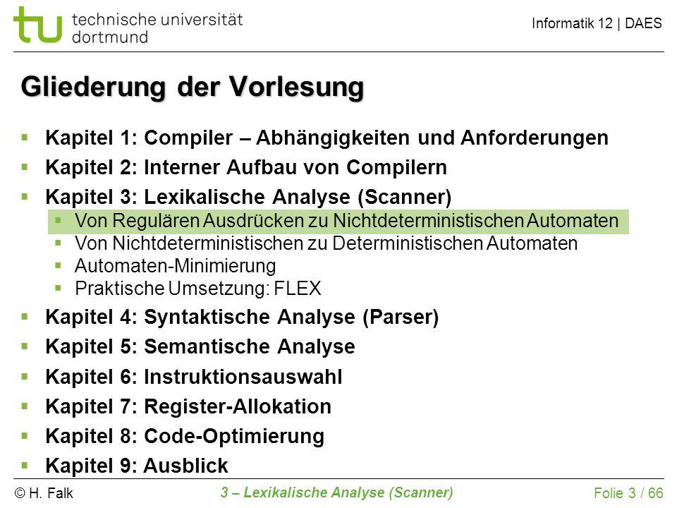 © H. Falk Informatik 12 | DAES 3 – Lexikalische Analyse (Scanner) Folie 3 / 66 Gliederung der Vorlesung Kapitel 1: Compiler – Abhängigkeiten und Anfor