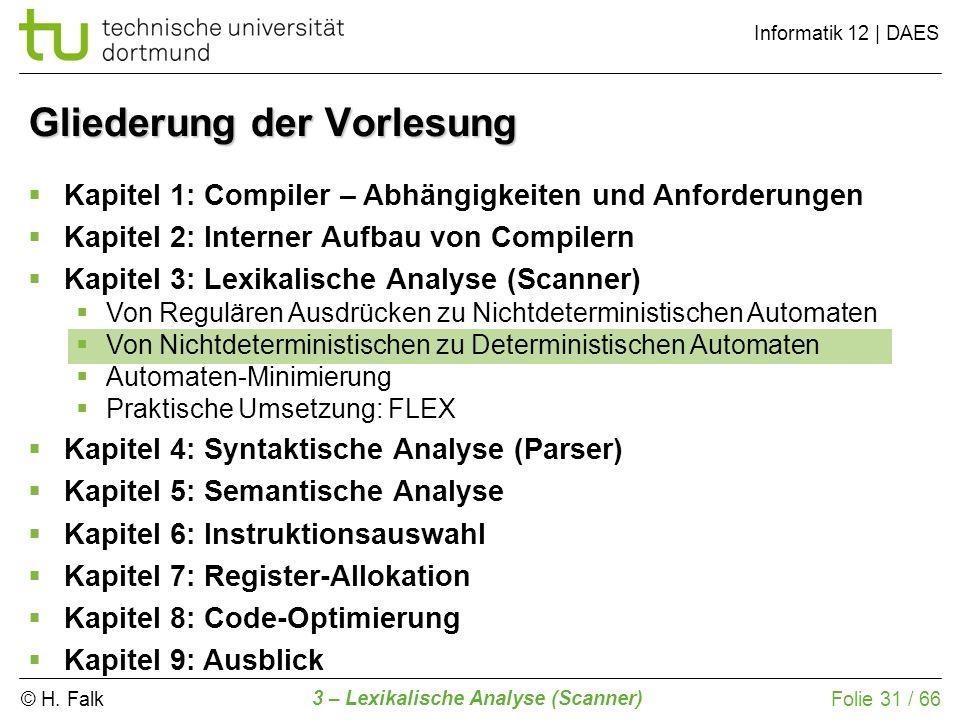 © H. Falk Informatik 12 | DAES 3 – Lexikalische Analyse (Scanner) Folie 31 / 66 Gliederung der Vorlesung Kapitel 1: Compiler – Abhängigkeiten und Anfo