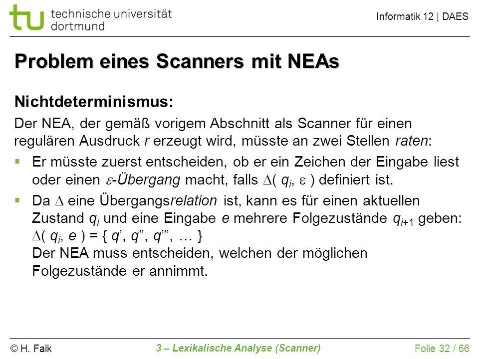 © H. Falk Informatik 12 | DAES 3 – Lexikalische Analyse (Scanner) Folie 32 / 66 Problem eines Scanners mit NEAs Nichtdeterminismus: Der NEA, der gemäß