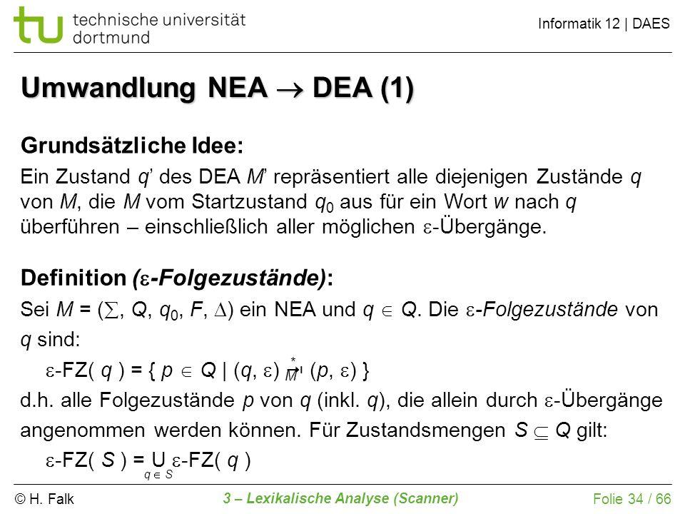 © H. Falk Informatik 12 | DAES 3 – Lexikalische Analyse (Scanner) Folie 34 / 66 Umwandlung NEA DEA (1) Grundsätzliche Idee: Ein Zustand q des DEA M re