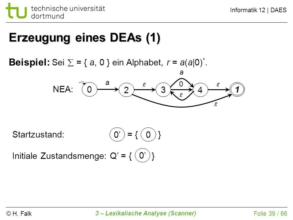 © H. Falk Informatik 12 | DAES 3 – Lexikalische Analyse (Scanner) Folie 39 / 66 Erzeugung eines DEAs (1) Beispiel: Sei = { a, 0 } ein Alphabet, r = a(