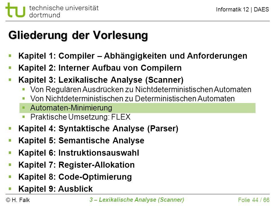 © H. Falk Informatik 12 | DAES 3 – Lexikalische Analyse (Scanner) Folie 44 / 66 Gliederung der Vorlesung Kapitel 1: Compiler – Abhängigkeiten und Anfo