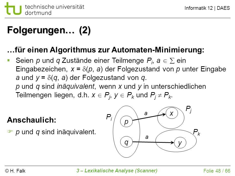 © H. Falk Informatik 12 | DAES 3 – Lexikalische Analyse (Scanner) Folie 48 / 66 Folgerungen… (2) …für einen Algorithmus zur Automaten-Minimierung: Sei
