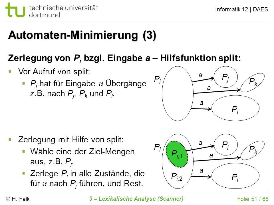 © H. Falk Informatik 12 | DAES 3 – Lexikalische Analyse (Scanner) Folie 51 / 66 Automaten-Minimierung (3) Zerlegung von P i bzgl. Eingabe a – Hilfsfun
