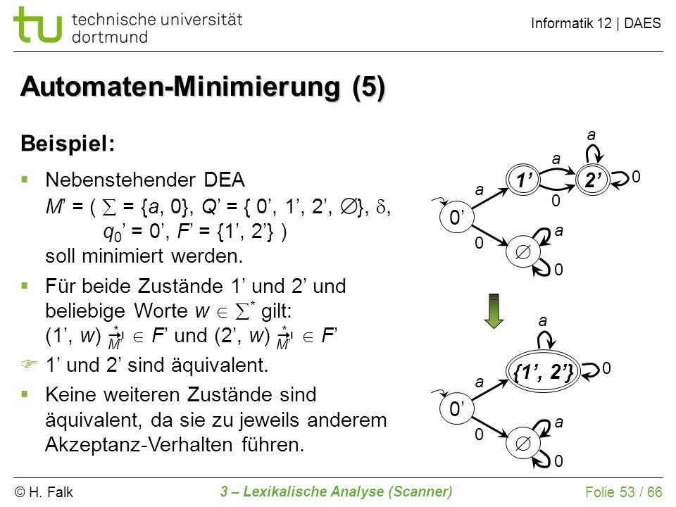 © H. Falk Informatik 12 | DAES 3 – Lexikalische Analyse (Scanner) Folie 53 / 66 Automaten-Minimierung (5) Beispiel: 0 a 0 21 a 0 a 0 a 0 Nebenstehende