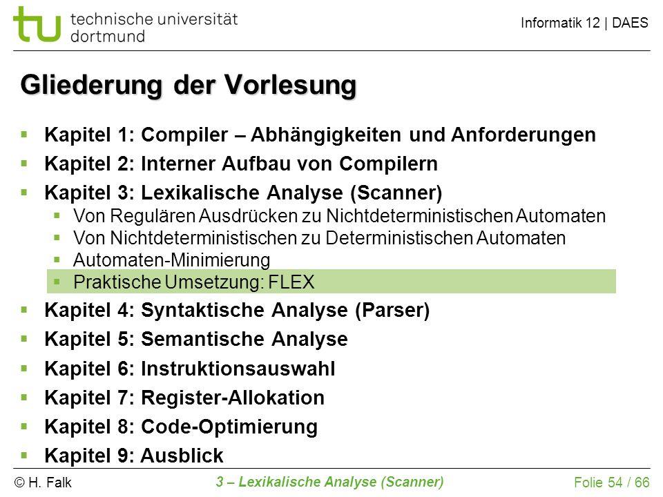 © H. Falk Informatik 12 | DAES 3 – Lexikalische Analyse (Scanner) Folie 54 / 66 Gliederung der Vorlesung Kapitel 1: Compiler – Abhängigkeiten und Anfo