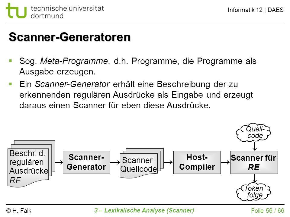 © H. Falk Informatik 12 | DAES 3 – Lexikalische Analyse (Scanner) Folie 56 / 66 Scanner-Generatoren Quell- code Scanner- Quellcode Beschr. d. reguläre