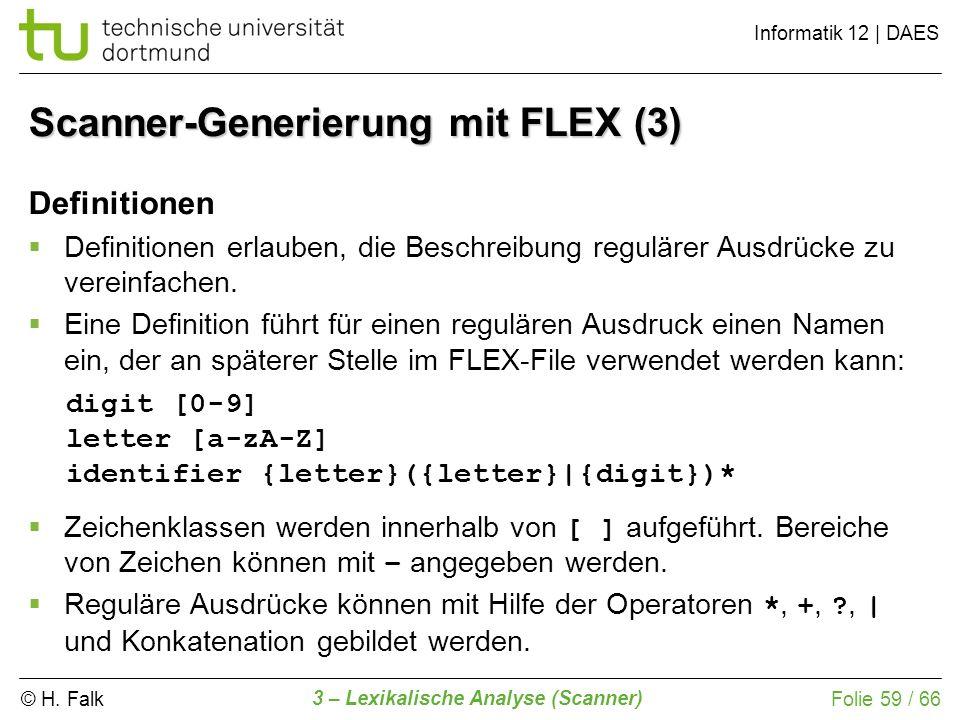 © H. Falk Informatik 12 | DAES 3 – Lexikalische Analyse (Scanner) Folie 59 / 66 Definitionen Definitionen erlauben, die Beschreibung regulärer Ausdrüc