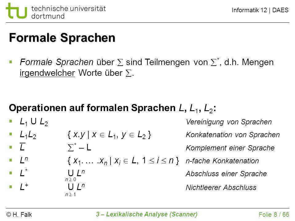 © H. Falk Informatik 12 | DAES 3 – Lexikalische Analyse (Scanner) Folie 8 / 66 Formale Sprachen Formale Sprachen über sind Teilmengen von *, d.h. Meng