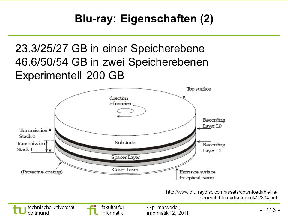 - 115 - technische universität dortmund fakultät für informatik p. marwedel, informatik 12, 2011 Blu-ray: Eigenschaften Verkürzung der Wellenlänge auf