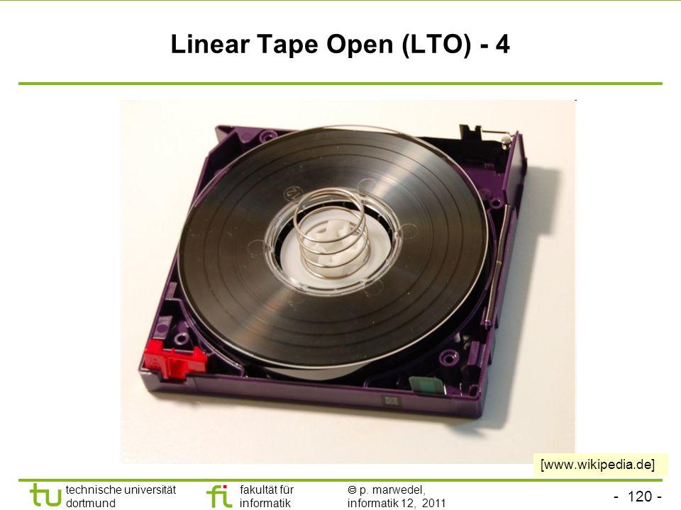 - 119 - technische universität dortmund fakultät für informatik p. marwedel, informatik 12, 2011 DAT-Laufwerk (digital audio tape) © ct, nur zur Verwe