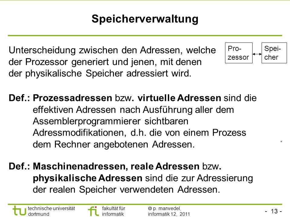 - 12 - technische universität dortmund fakultät für informatik p. marwedel, informatik 12, 2011 Context switch Prozessor Speicher A B PCB A PCB B Regi