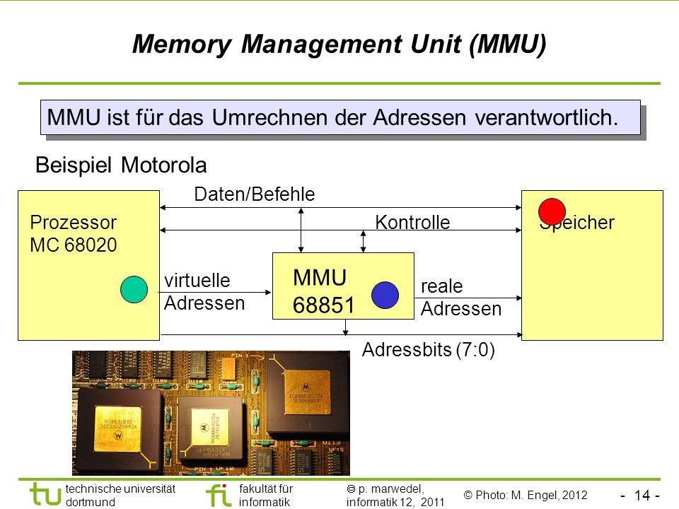 - 13 - technische universität dortmund fakultät für informatik p. marwedel, informatik 12, 2011 Speicherverwaltung Unterscheidung zwischen den Adresse