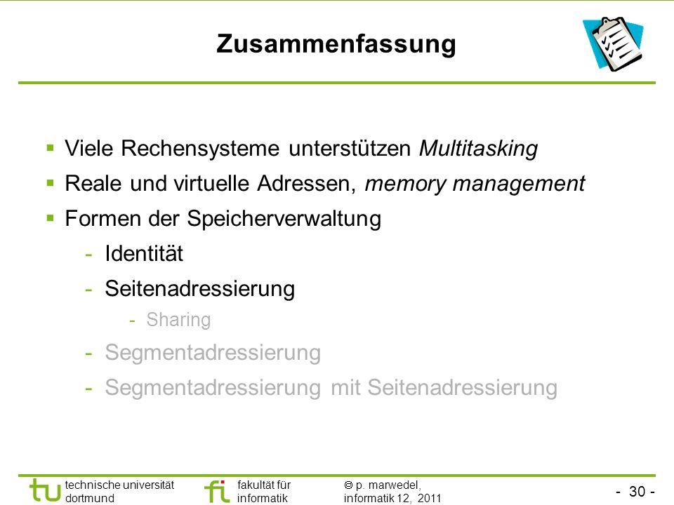 - 29 - technische universität dortmund fakultät für informatik p. marwedel, informatik 12, 2011 Beschleunigung mittels Hashtabellen # der Einträge = #