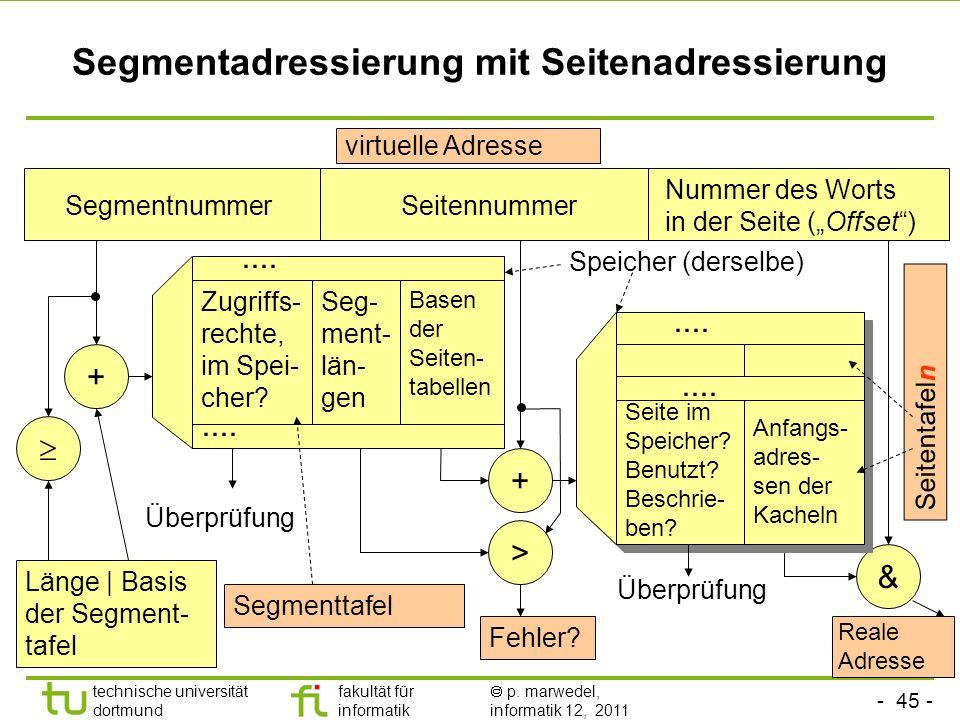 - 44 - technische universität dortmund fakultät für informatik p. marwedel, informatik 12, 2011 Kombination von Segment- und Seitenadressierung Segmen