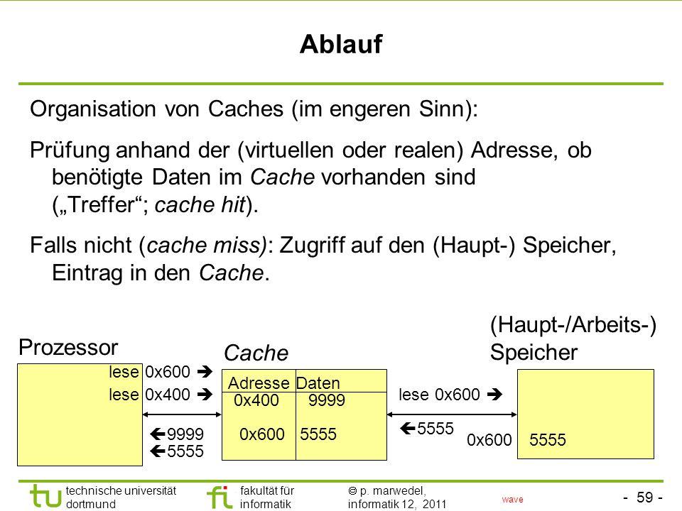- 58 - technische universität dortmund fakultät für informatik p. marwedel, informatik 12, 2011 2.4.4 Caches Cache = Speicher, der vor einen größeren,