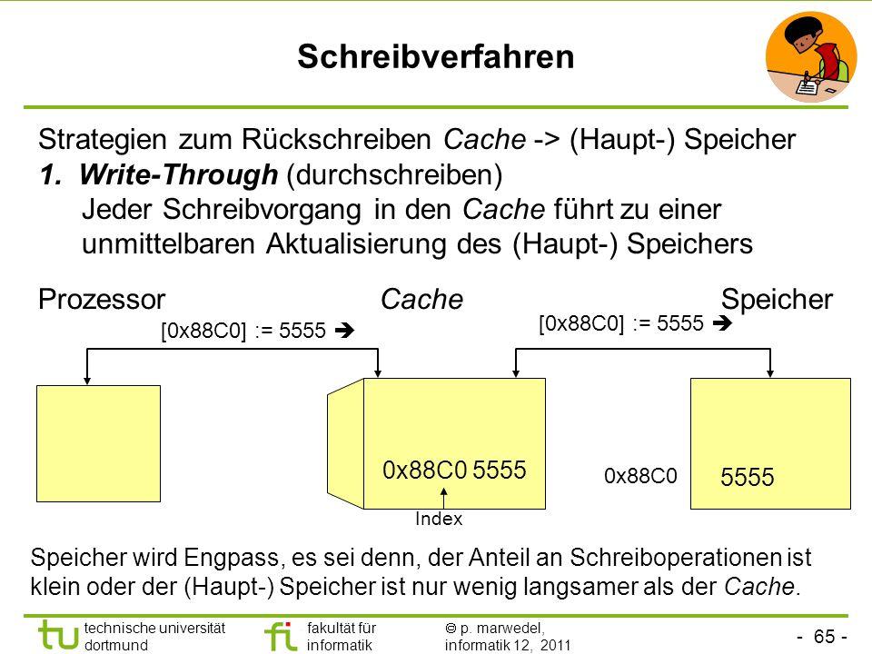 - 64 - technische universität dortmund fakultät für informatik p. marwedel, informatik 12, 2011 Organisationsformen von Caches Direct mapping Für cach