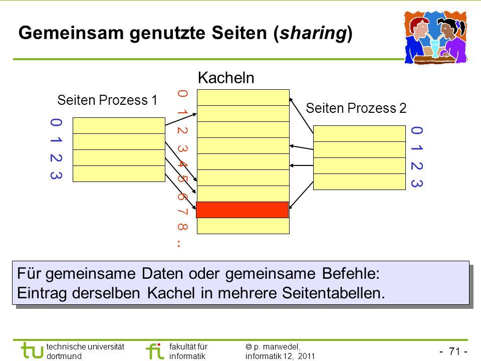 - 70 - technische universität dortmund fakultät für informatik p. marwedel, informatik 12, 2011 Bus snooping (Bus-Lauschen) CacheProzessor 3333 0x11C0
