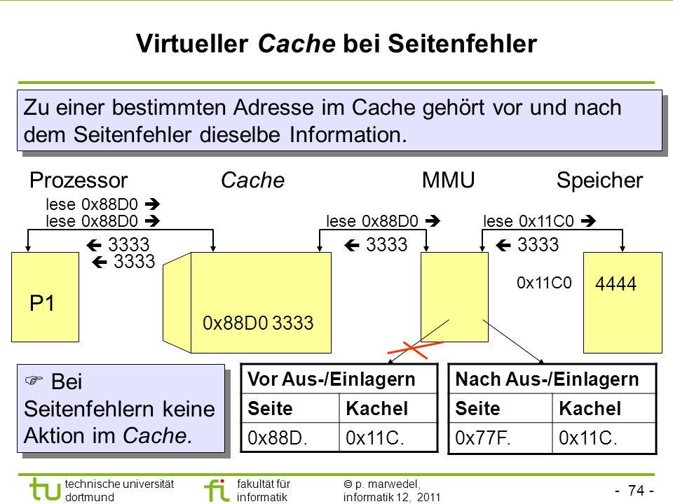 - 73 - technische universität dortmund fakultät für informatik p. marwedel, informatik 12, 2011 Virtueller Cache bei Prozesswechsel (context switch) C