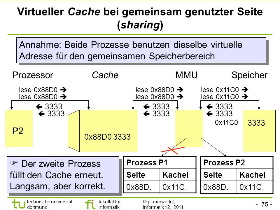 - 74 - technische universität dortmund fakultät für informatik p. marwedel, informatik 12, 2011 Virtueller Cache bei Seitenfehler Cache lese 0x88D0 Pr
