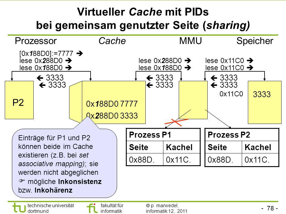- 77 - technische universität dortmund fakultät für informatik p. marwedel, informatik 12, 2011 Virtueller Cache mit PIDs bei Seitenfehler Cache lese