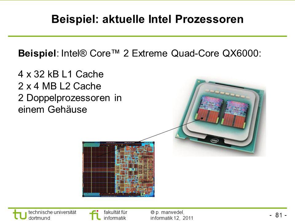 - 80 - technische universität dortmund fakultät für informatik p. marwedel, informatik 12, 2011 Systeme mit mehreren Caches Beispiel: Prozessor Speich